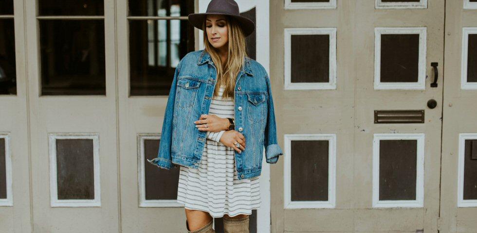 stripe long sleeve shift dress