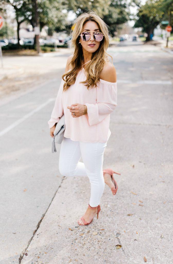 Pink Cold Shoulder Top | January Hart Blog