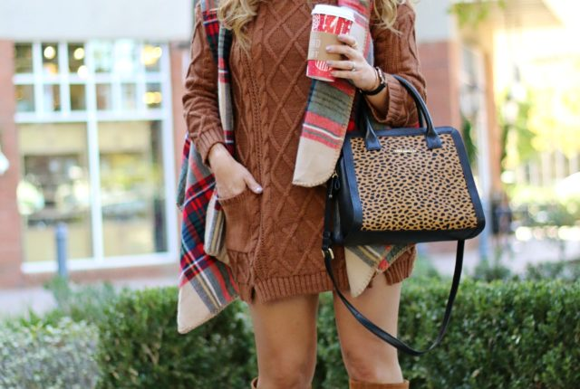 sweater dress and boots   January Hart Blog