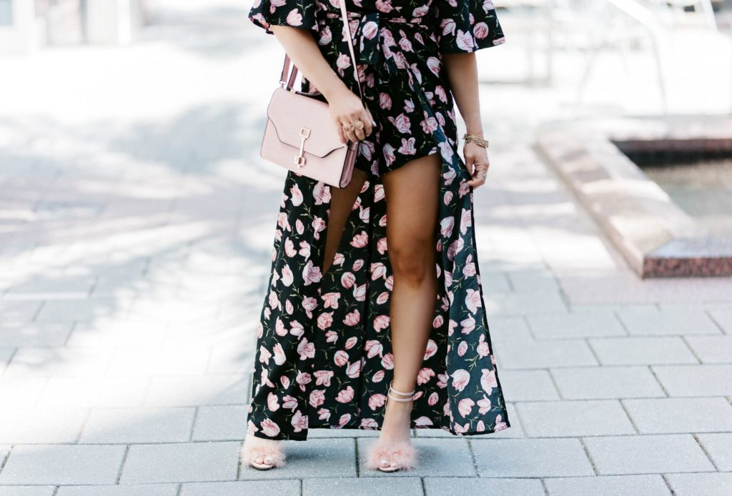 short sleeve maxi romper dress