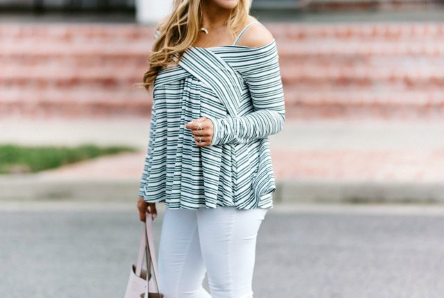 striped off the shoulder shirt