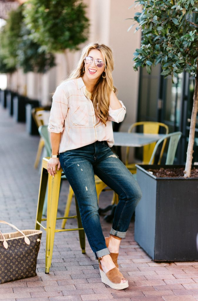 pink plaid shirt outfit ideas
