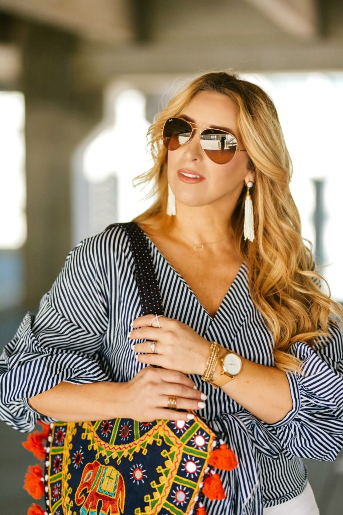 Striped long sleeve wrap blouse