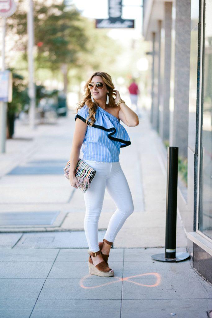 one shoulder ruffle blouse
