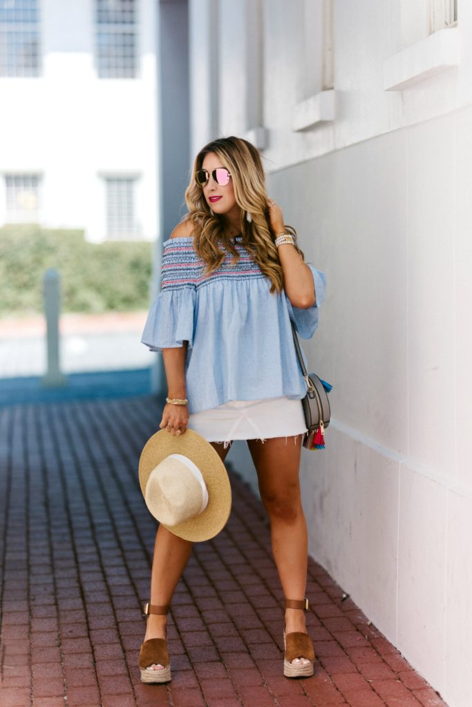 short sleeve off the shoulder top