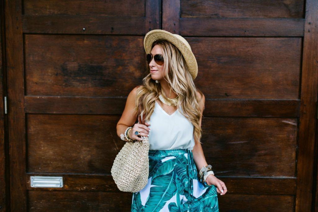 Palm Print wrap Skirt