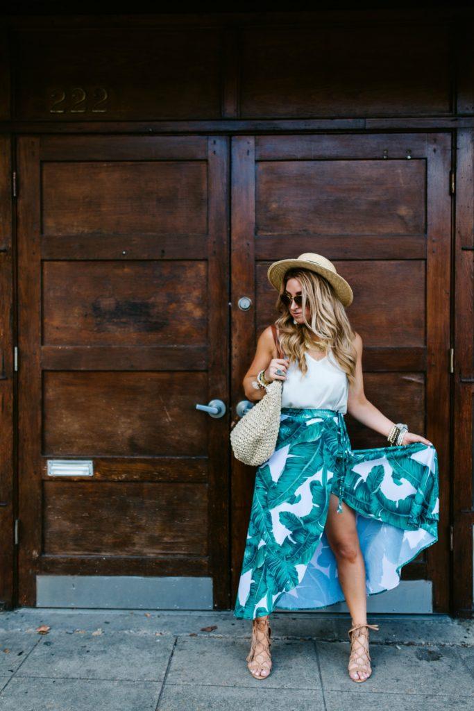 tropical print maxi skirt