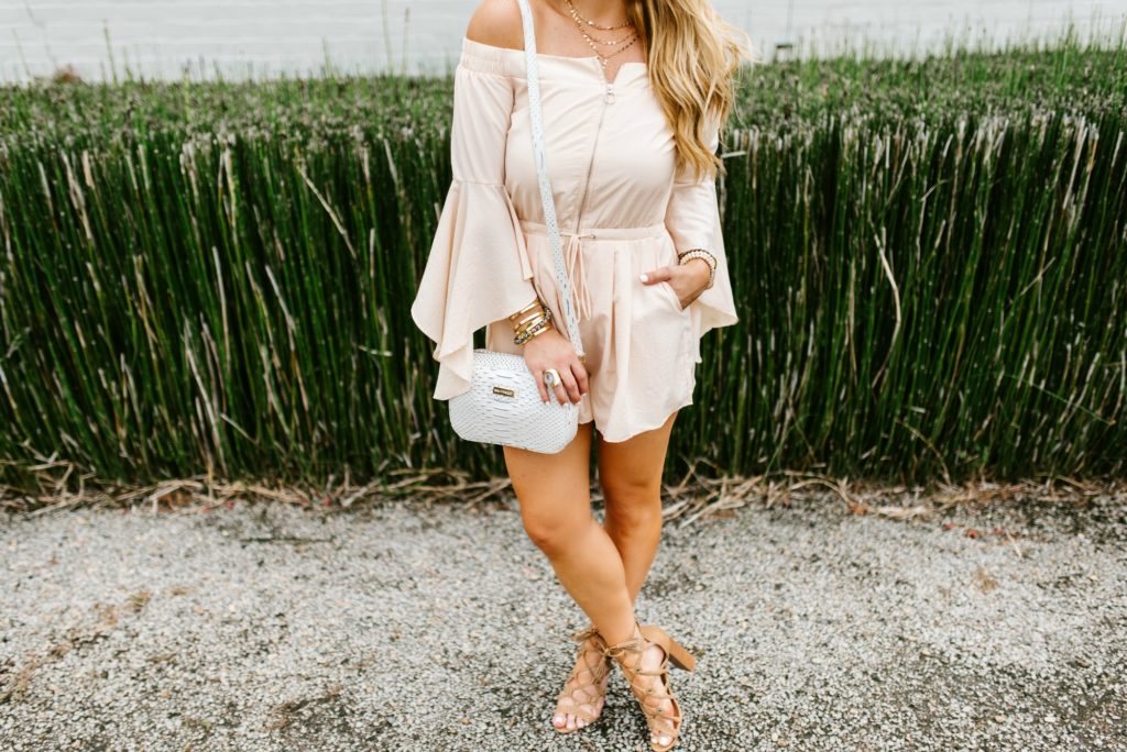 blush off the shoulder romper