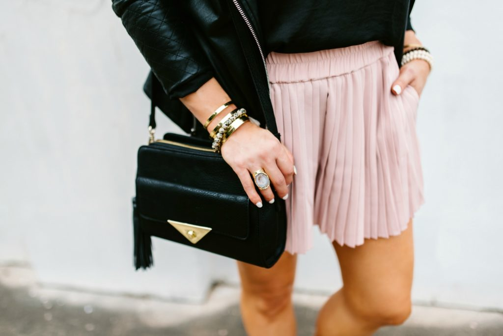 Blush pleated shorts