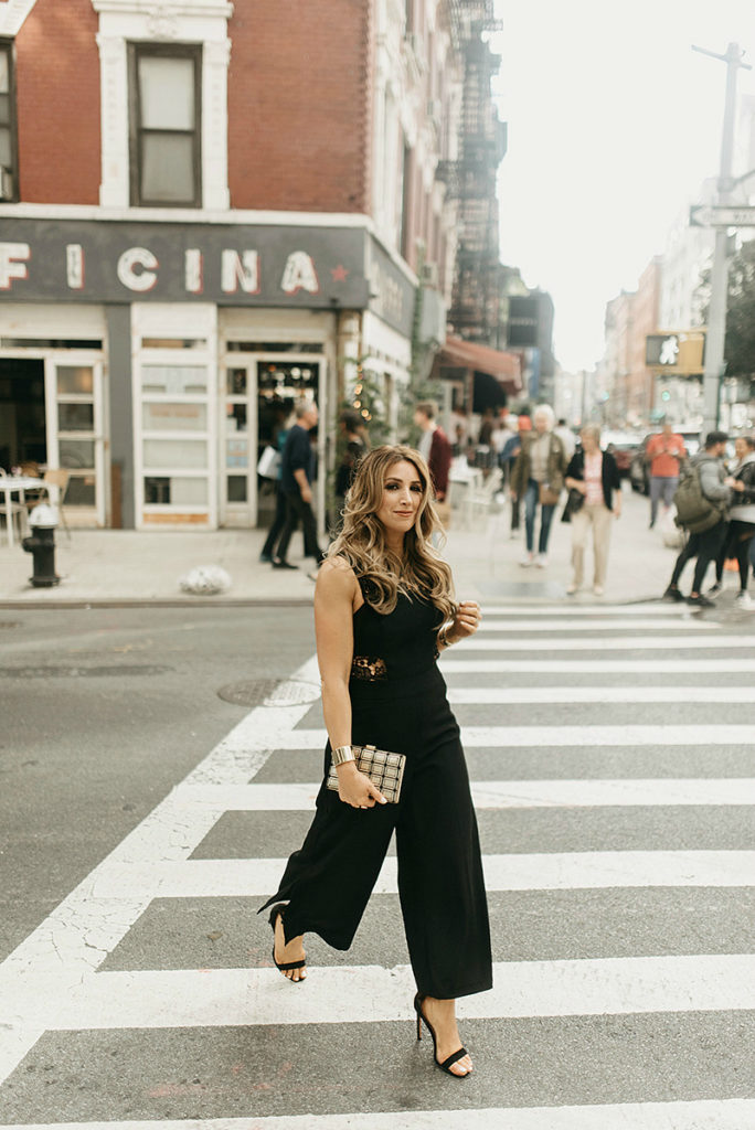 Black cropped jumpsuit
