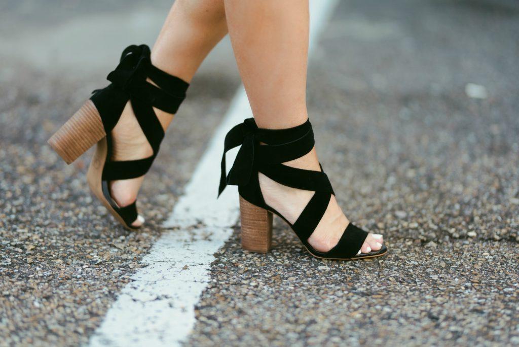 black suede wrap sandals