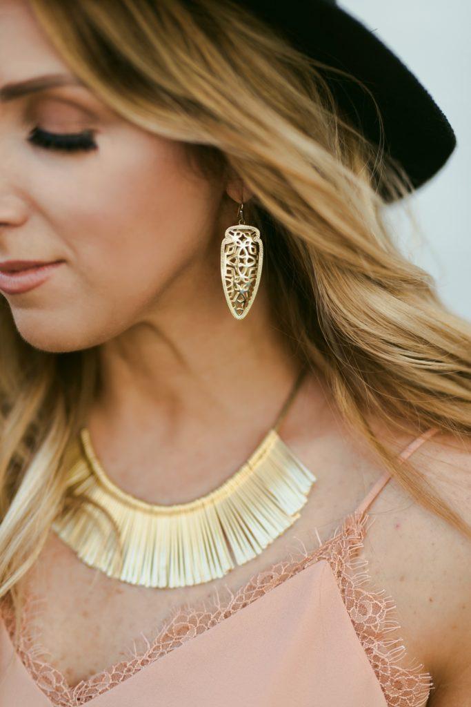 Gold fringe statement necklace