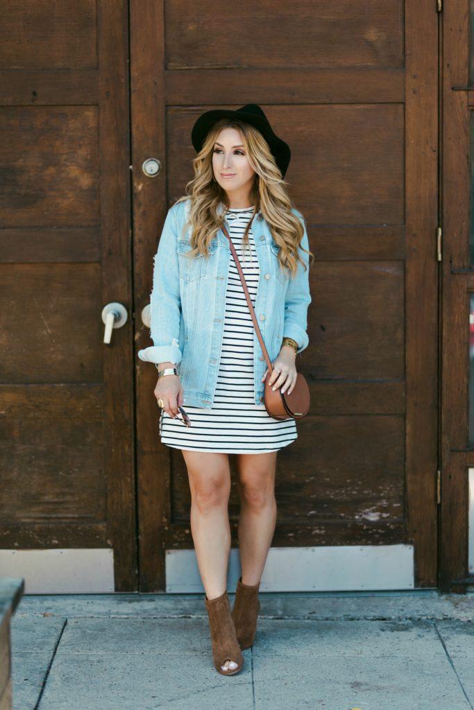 black white stripe knit dress