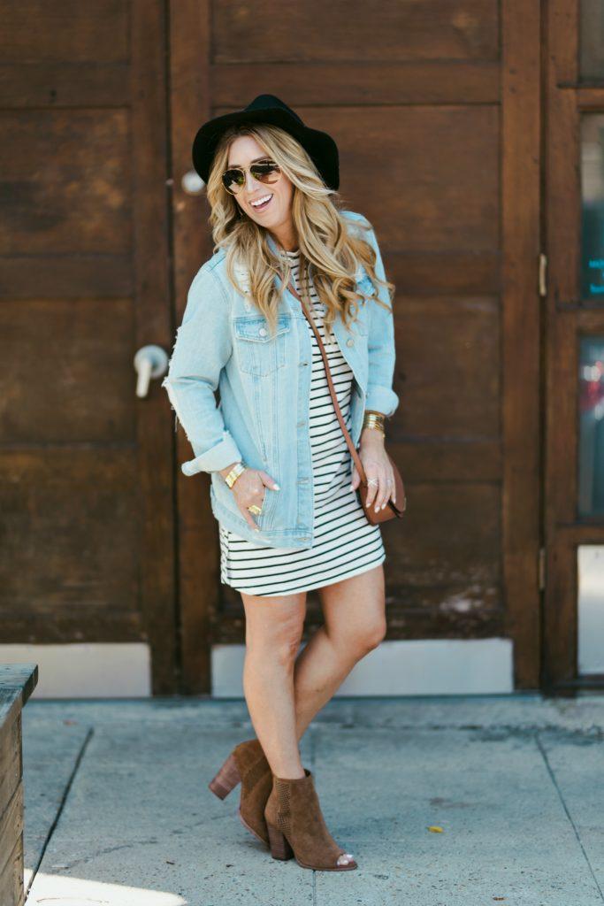 long sleeve stripe shift dress