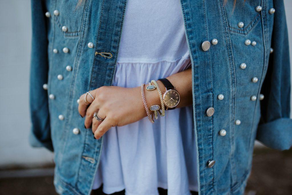 pearl embellished denim jacket