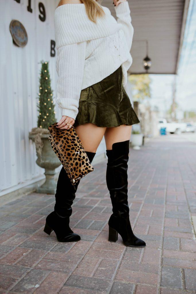 Black Velvet Over the Knee Boots