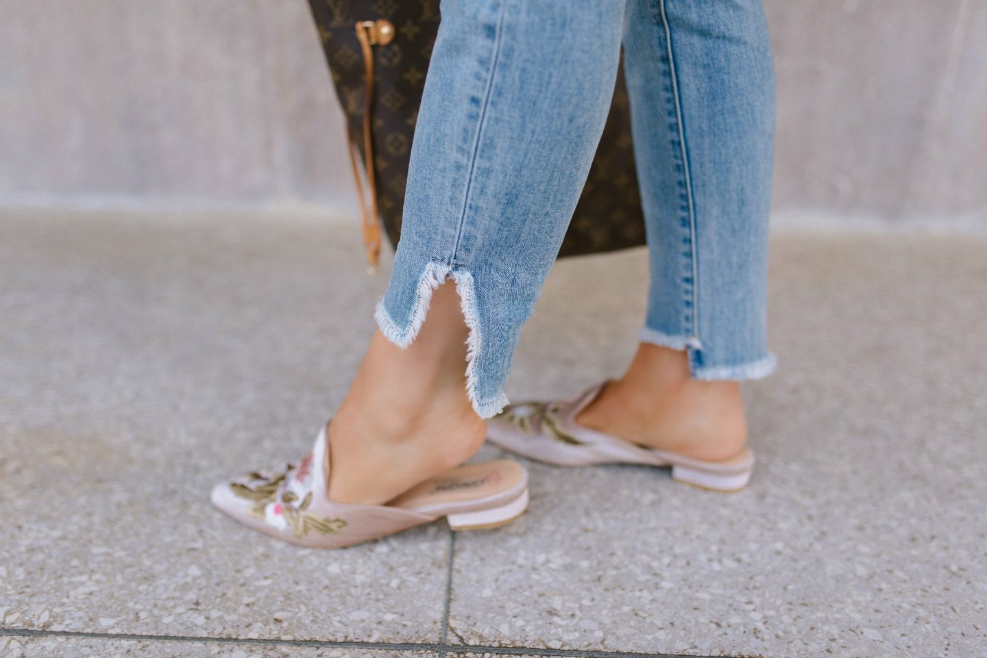pink embroidered mules shoes
