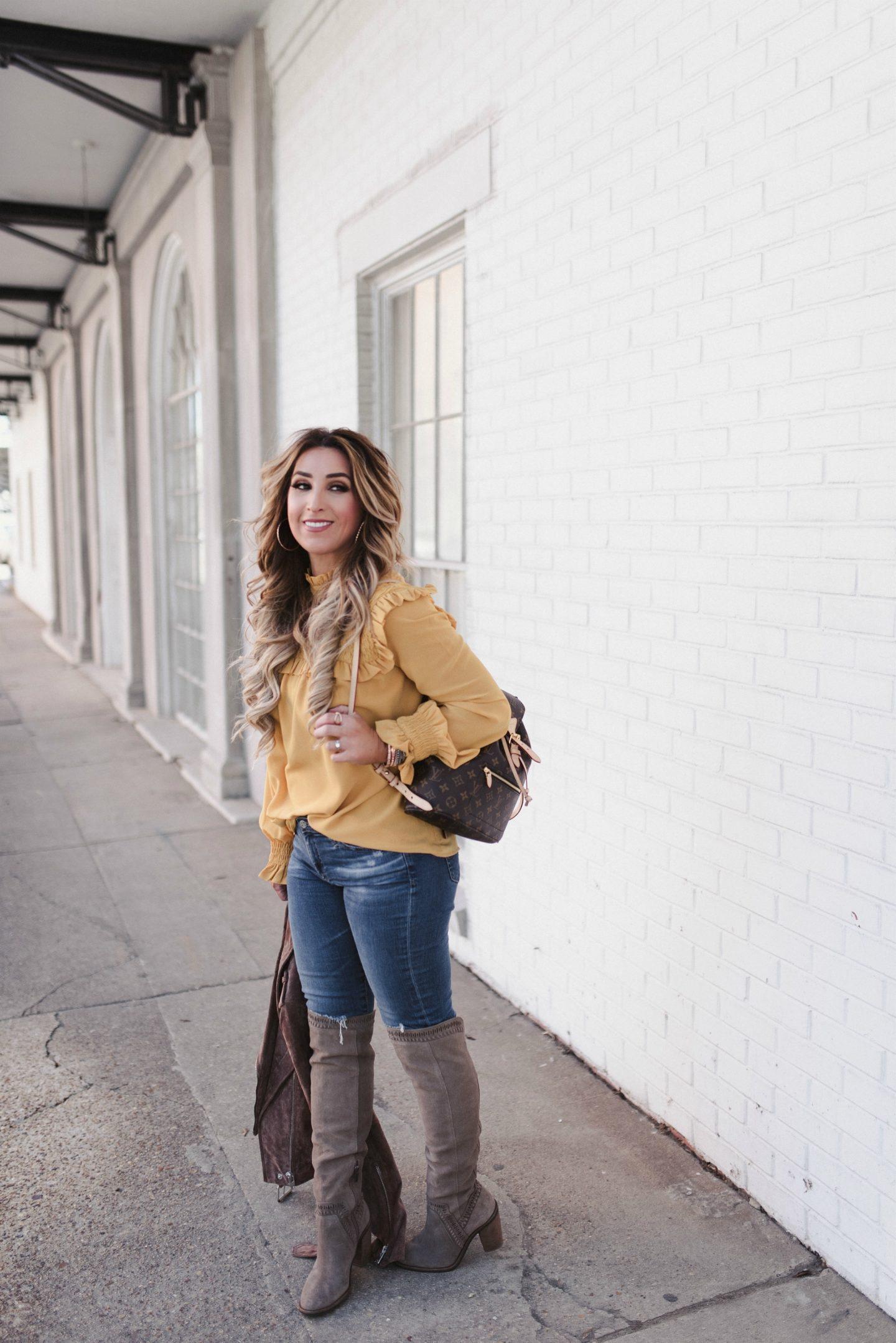 mustard long sleeve blouse