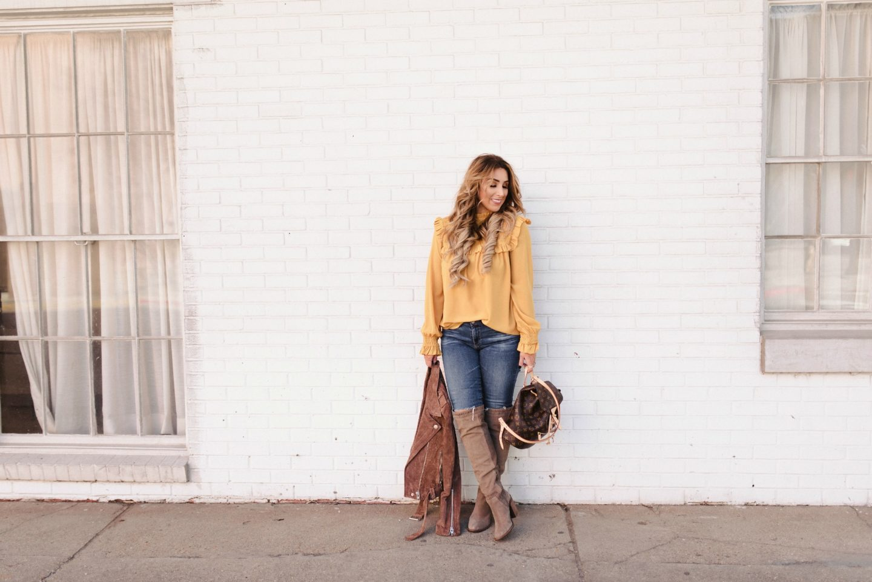Mustard Long Sleeve Top Womens